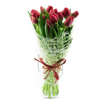 Букет из 21 Тюльпана в упаковке