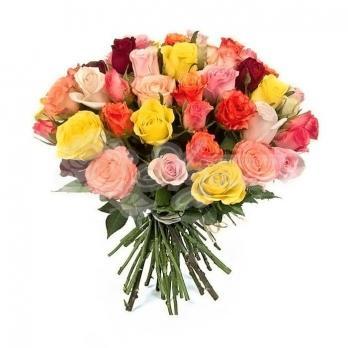 Букет из 25 Эквадорских разноцветных роз