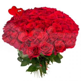 Букет из 51 красной розы с стикером Сердце